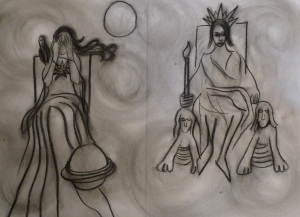 Tarot cards priestess and emperor 001 (2)